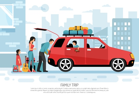 Young family with kids packing car for vacation road trip flat transportation  poster cityscape background vector illustration