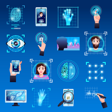 Identification technologies symbols icons set with touch screen fingerprint recognition id systems isolated blue background vector illustration