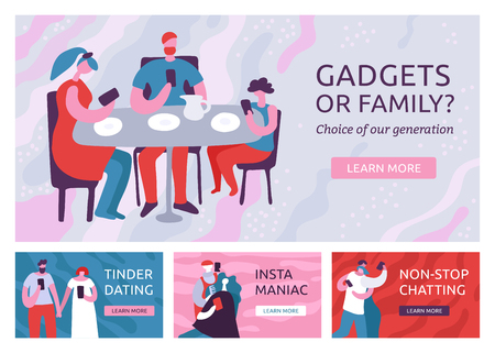 Flat design set of four horizontal banners with dependent on gadgets people with smartphones isolated vector illustration