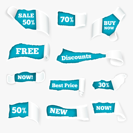 Creative torn paper curls sales advertisement exposing discount prices in holes realistic images set isolated vector illustration