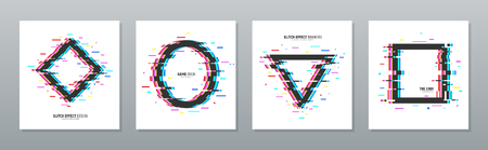 Glitch effect poster set with circle triangle rhombus and square distorted frames isolated vector illustration