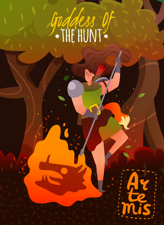 Greece mythology cartoon poster with ancient goddess of hunt artemis keeping fire flat vector illustration