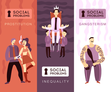 Three vertical banners with people showing social problems so as gangsterism prostitution social inequality flat vector illustration