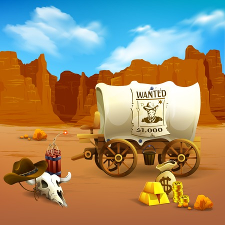 Wild west composition with cowboy hat, wooden cart, dynamite, money, red mountains and terracotta land vector illustration Illustration