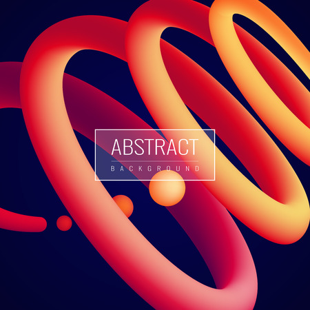 Abstract holographic fluid in spiral and balls shape in red orange color on dark background vector illustration Illustration