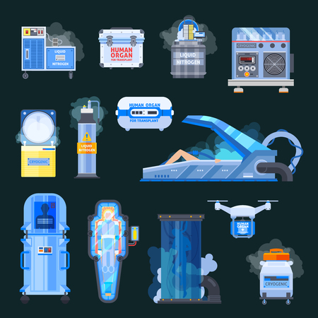 Cryonics, chambers with liquid nitrogen, human organs for transplantation, flat icons isolated on black background vector illustration