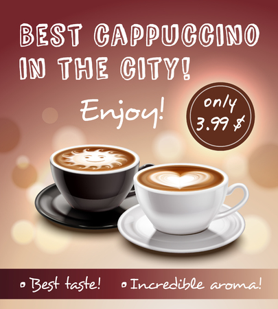Coffee advertisement art poster with offer of best cappuccino in city at lowest price realistic vector illustration