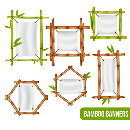 Green and dry bamboo decorative frames banners holders square rectangle and hexagon realistic set isolated vector illustration