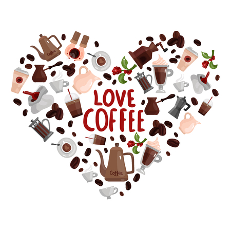 Love coffee design concept with heart image composed of different brewing devices and  coffee drinks isolated icons vector illustration