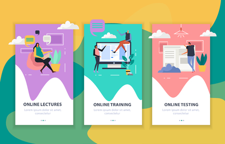 Online education set of flat vertical banners, internet lectures and testing, web training isolated vector illustration