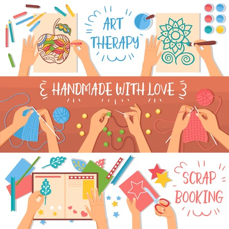Colorful handmade banners set with creative hobbies for kids flat isolated vector illustration