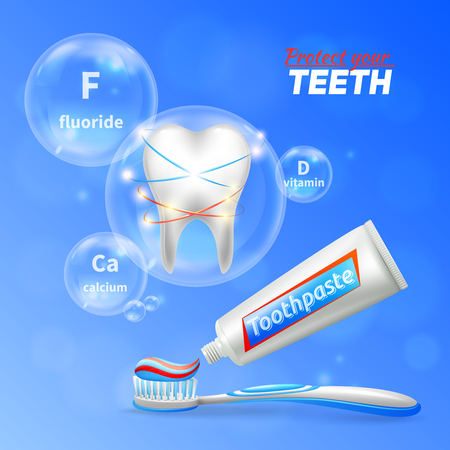 Dental care oral hygiene enamel protection  realistic composition with shining white tooth toothbrush and toothpaste vector illustration Illustration