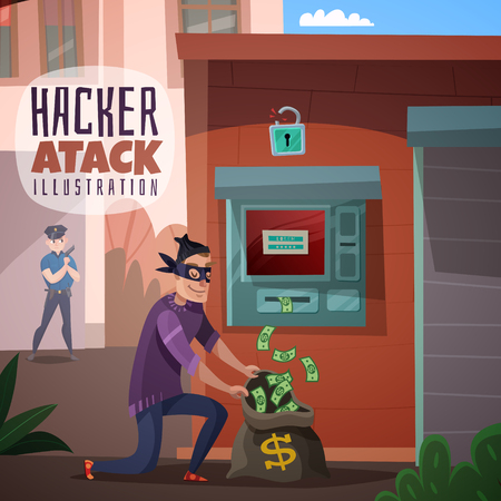 Person in mask during bank hacking and stealing money, police officer in background, cartoon vector illustration