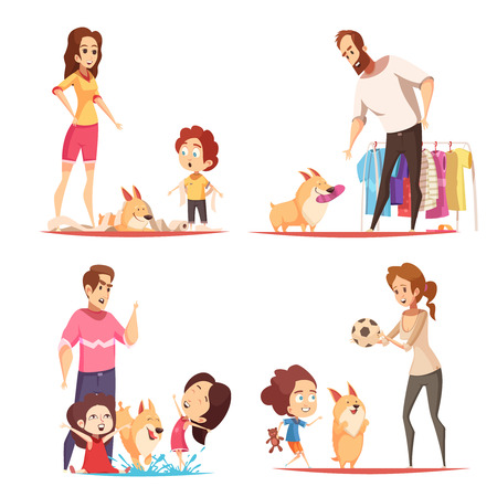 Family with favorite puppy during game, pranks with toilet paper and water, design concept isolated vector illustration Stock Vector - 101864895