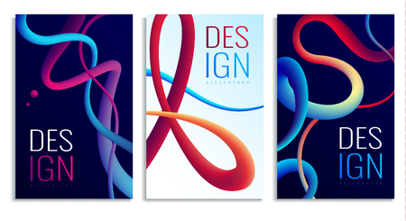 Fluid neon holographic abstract design elements posters composition set of three vertical banners with gradient curves vector illustration Illustration