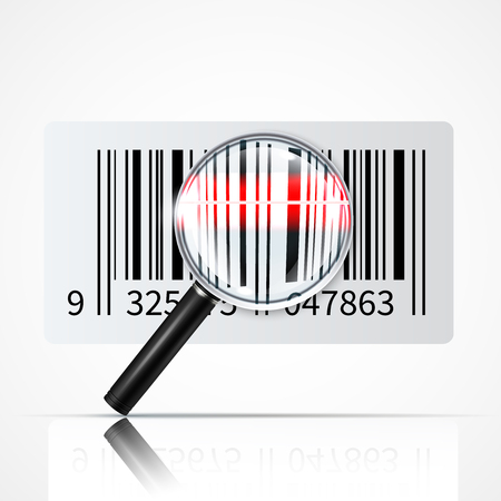 Linear bar code and magnifier for reading information with reflection on white background realistic vector illustration