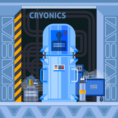 Cryogenic crionics transplantation flat composition with images of cryocamera with human identifier and additional electronic equipment vector illustration Illusztráció