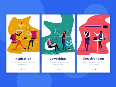 Set of flat vertical banners coworking, creative team, inspiration isolated on blue background vector illustration Illustration