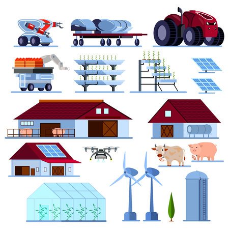 Smart farming with vegetables cultivation, green energy, unmanned agricultural vehicles, orthogonal flat set isolated vector illustration