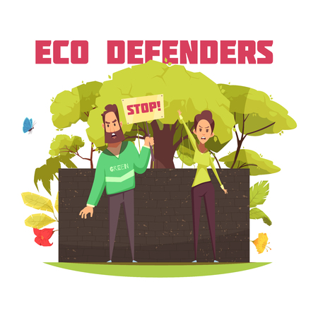 Eco defenders during protest action on dark brick wall background with forest elements cartoon composition vector illustration