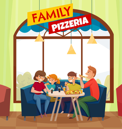 Flat restaurant pub visitors colored composition with big red family pizzeria headline vector illustration Illustration