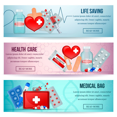 First aid kit 3 horizontal realistic health care website banners with medical emergency supply isolated vector illustration Иллюстрация