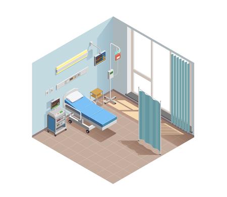 Composición isométrica del equipo médico con ventana interior de la habitación del hospital con instalaciones terapéuticas y dispositivos electrónicos especiales ilustración vectorial Ilustración de vector