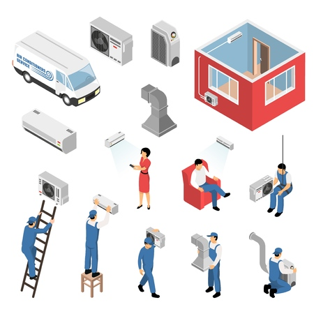 Air conditioners service isometric set with delivery van installation maintenance serviceman customer apartment cooling isolated vector illustration