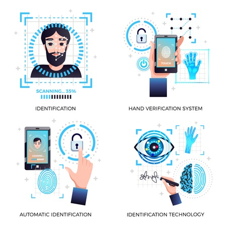 Identification technologies concept 4 icons set with face recognition hand automatic verification technology systems isolated vector illustration Vectores