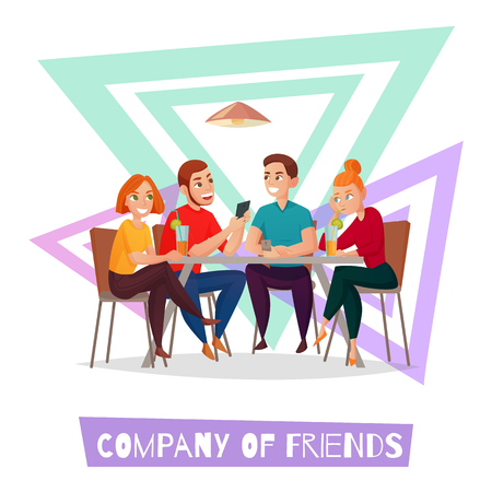 Colored isolated restaurant pub visitors simple composition with company of friends description vector illustration 일러스트
