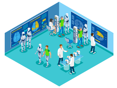 Backup personality isometric flowchart with view of futuristic laboratory with characters of scientists patients and droids vector illustration Illustration