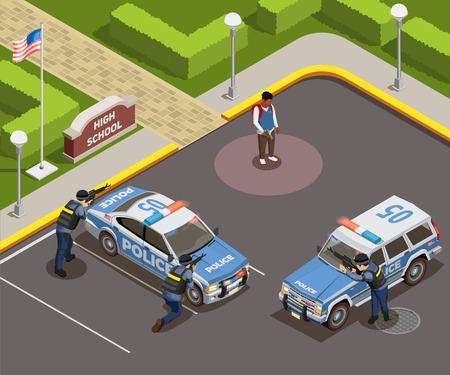 High school isometric people composition of outdoor police cordon with cars armed policemen and killer schoolboy vector illustration Ilustracja