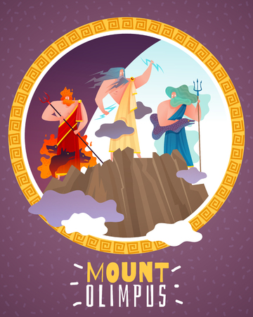 Mount olimpus cartoon poster with ancient greece gods zeus poseidon hephaestus flat vector illustration Illustration
