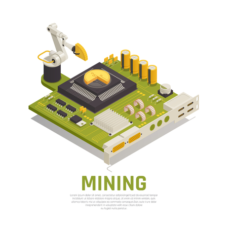 Blockchain cryptocurrency isometric composition concept with graphics processor unit board and robotic manipulator loading golden coins vector illustration