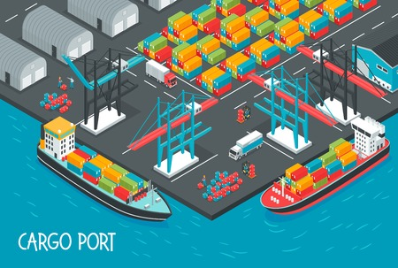 Sea port with cargo ships full of boxes and containers 3d isometric vector illustration Ilustrace