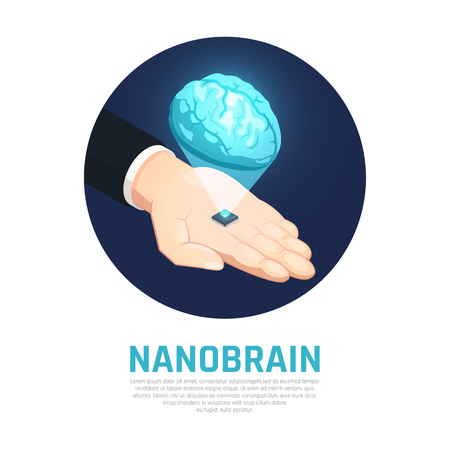 Nano technology isometric round composition with hand holding micro chip with brain on black background vector illustration 向量圖像