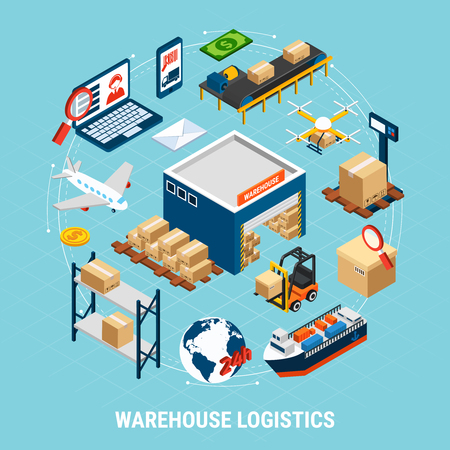 Warehouse logistics isometric concept with delivery freight transport and cargoes 3d vector illustration