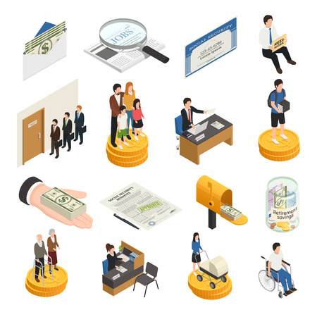 Social security isometric icons, unemployment, supports for families, students and single mothers, disability payments isolated vector illustration