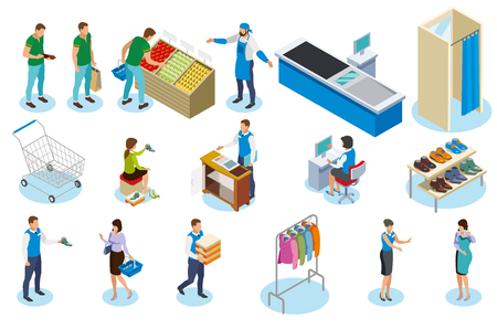 People during shopping isometric icons with trade equipment, sellers, vegetables, clothing and shoes isolated vector illustration Çizim