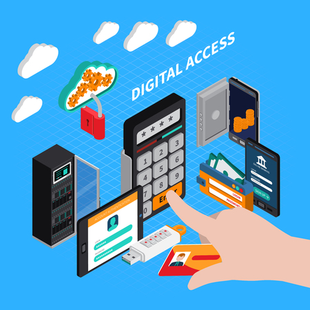 Digital access isometric composition with combination lock, id card, authorization and authentication on blue background vector illustration Ilustração