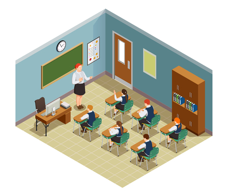 High school isometric people composition with class room interior and characters of female teacher and students vector illustration