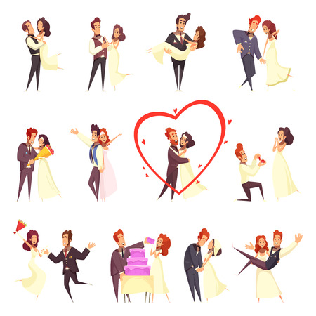 Newlyweds cartoon set, bride and groom during engagement ceremony, hugs, dance and eating cake isolated vector illustration