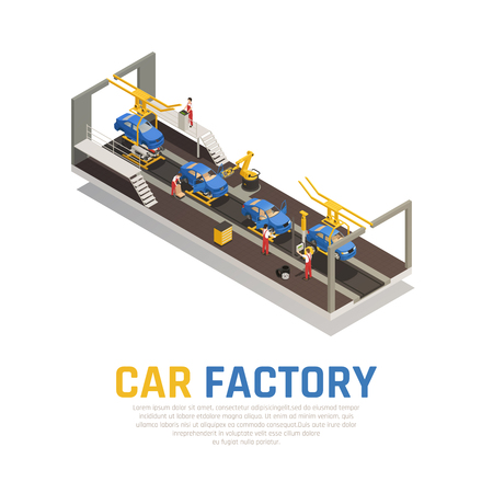 Car factory isometric composition, assembly line with robotic equipment and workers for control process vector illustration