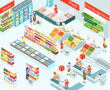 Illustration vectorielle isométrique de supermarché de l'intérieur de la salle des marchés avec les acheteurs dans les sections de légumes et de fruits