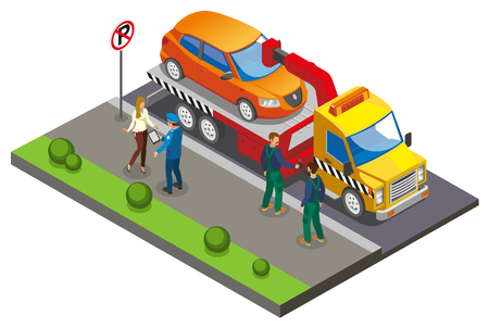 Colored Isometric parking composition with employees take the car to the parking lot because of improper parking vector illustration