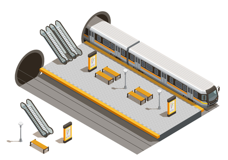 Public city transport isometric composition with underground metro station escalators and benches with underground rolling stock vector illustration Illustration