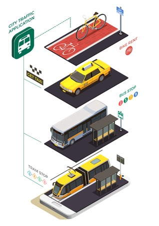 Public city transport isometric composition with infographic pictograms text captions and municipal transport units with stops vector illustration 向量圖像