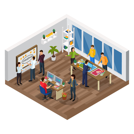 Advertising agency isometric composition with creative team, planning process, computer designer, office interior, vector illustration Illustration