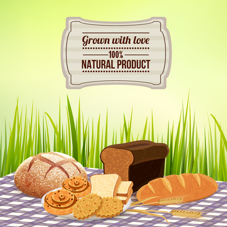 Bread background with homemade natural product symbols flat vector illustration