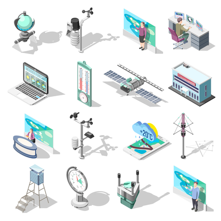 Forecasters, office building and devices including weather satellite, thermometer, wind measurement instrument, isometric icons isolated vector illustration